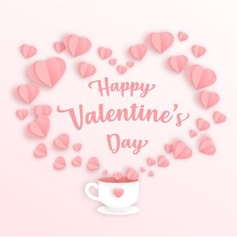 Glückliche valentinstagkarte mit herzen, die aus einer tasse kommen