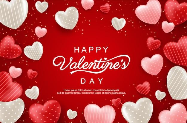 Glückliche valentinstagkarte mit herzen