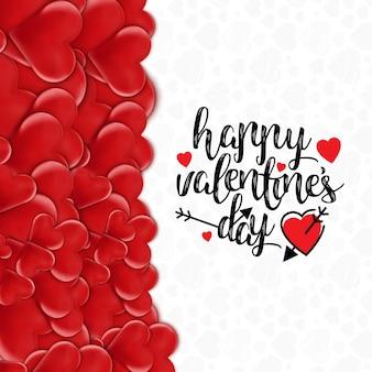 Glückliche valentinstagkarte mit herzmuster