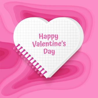 Glückliche valentinstagkarte mit hintergrund mit tiefrosafarbenem papierschnittdesign