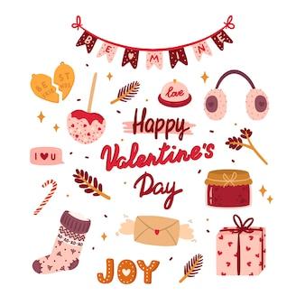 Glückliche valentinstagkarte mit niedlichen elementen und reizender beschriftung in der romantischen art.
