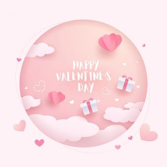 Glückliche valentinstagkarte. reizender valentinsgrußherzballon, -wolken und -elemente. papierkunst design.