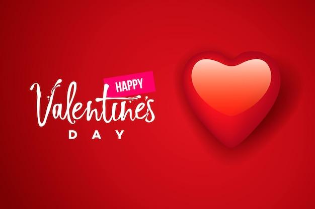 Glückliche valentinstagskarte, herz auf rotem hintergrund. vektorbild