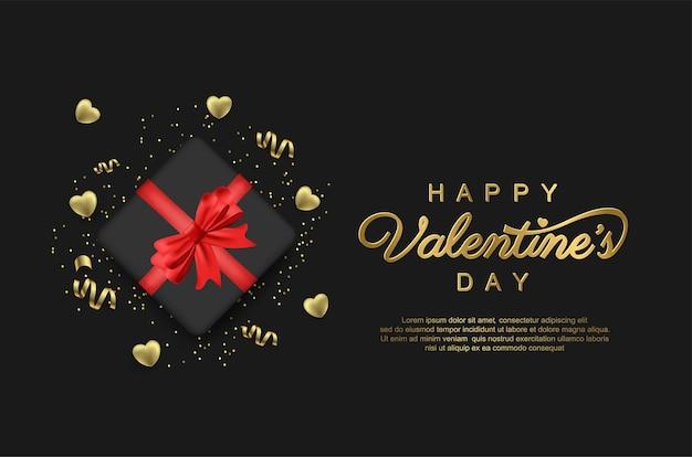 Glückliche valentinstagskarte mit geschenk