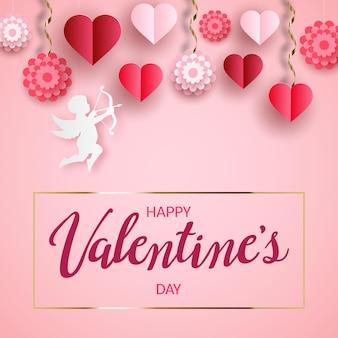 Glückliche valentinstagskarte mit hängenden papierblumen, einem amor und herzen.