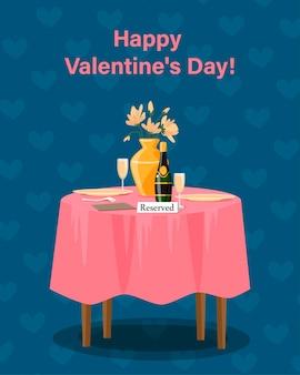 Glückliche valentinstagskarte. restauranttisch für zwei, datum