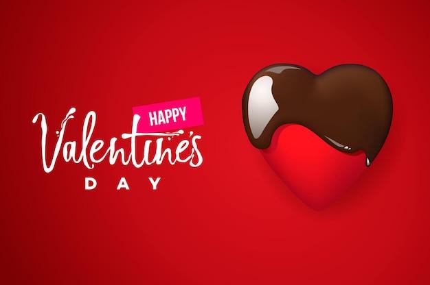 Glückliche valentinstagskarte, schokoladenherz auf rotem hintergrund. vektorbild