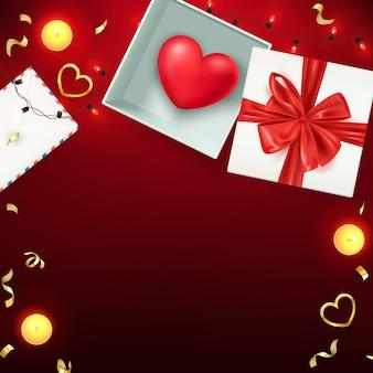 Glückliche valentinstagzusammensetzung, liebespostkarte, fahne, hintergrundschablone