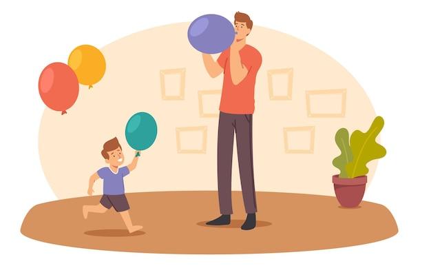 Glückliche vater- und kleiner-sohn-charaktere blasen ballons. familienzimmer dekorieren für geburtstagsfeier oder feiertagsfeier. eltern und kind bereiten sich auf den jahrestag vor. cartoon-menschen-vektor-illustration