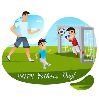 Glückliche vatertagsgrußkarte. cartoon familie fußball spielen