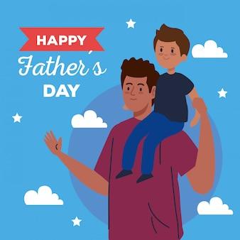 Glückliche vatertagsgrußkarte und papa tragen sohn