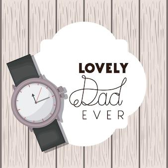Glückliche vatertagskarte mit armbanduhr