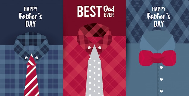 Glückliche vatertagskarte mit männlichen hemden und krawatten