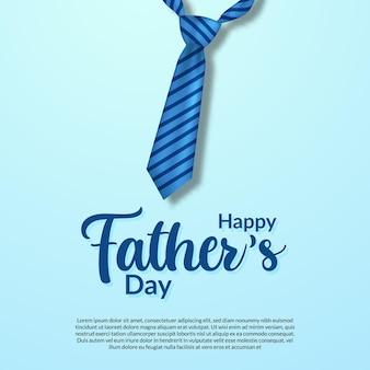 Glückliche vatertagskarte mit realistischer blauer krawatte und skripttypografie