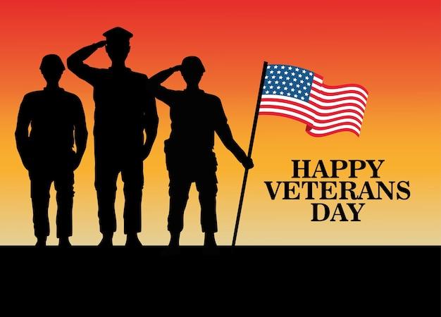 Glückliche veteranen-tagesfeier mit dem militäroffizier und den soldaten, die das anheben der flaggenvektorillustration begrüßen
