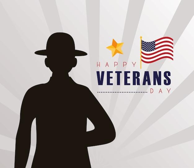 Glückliche veteranen-tageskarte mit schwarzer schattenbildillustration des soldaten
