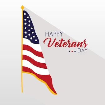 Glückliche veteranen-tageskarte mit usa-flagge in der polillustration