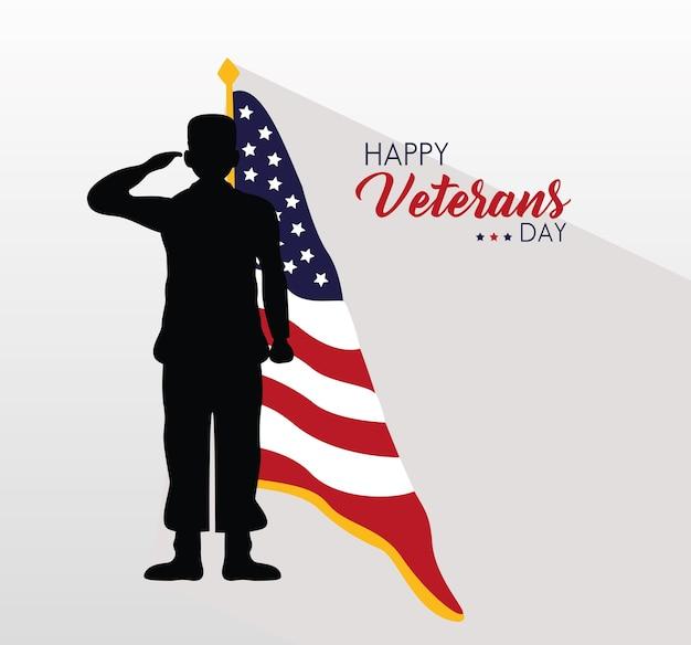 Glückliche veteranen-tageskarte mit usa-flagge und salutierender soldatenillustration