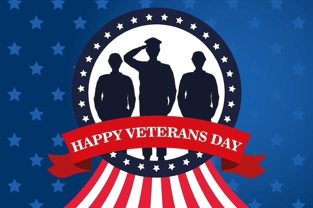 Glückliche veteranentagsfeier mit militäroffizier und soldaten, die im kreisförmigen rahmenvektorillustrationsentwurf salutieren