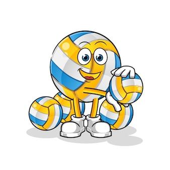 Glückliche volleyball-zeichentrickfigur