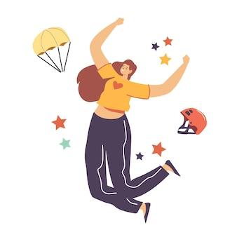 Glückliche weibliche figur, die mit fallschirmspringerausrüstung, helm und fallschirm springt