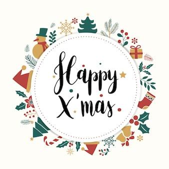Glückliche weihnachtsgrußkarte mit beschriftung