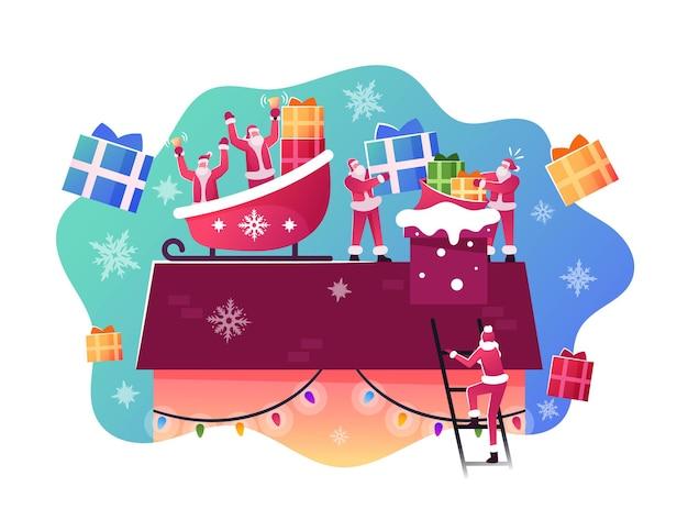 Glückliche weihnachtsmann-charaktere, die im schlitten auf dem hausdach sitzen, werfen geschenke und geschenke in den schornstein. weihnachtsfeier, festliche nacht, frohe weihnachtsgrüße konzept. cartoon-menschen-vektor-illustration