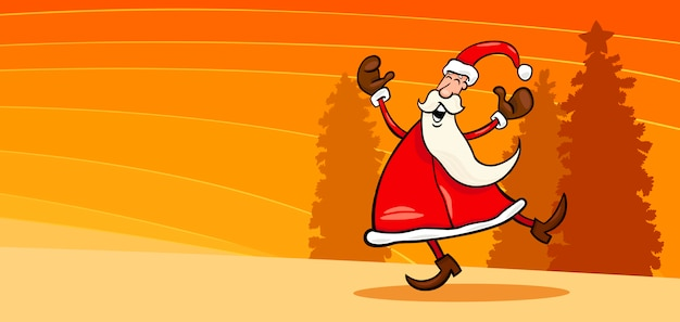 Glückliche weihnachtsmann-karikaturkarte