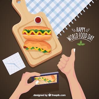Glückliche welt essen tag hintergrund