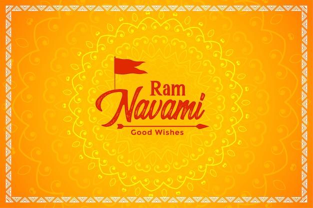 Glückliche widder-navami-gelbe festivalkarte