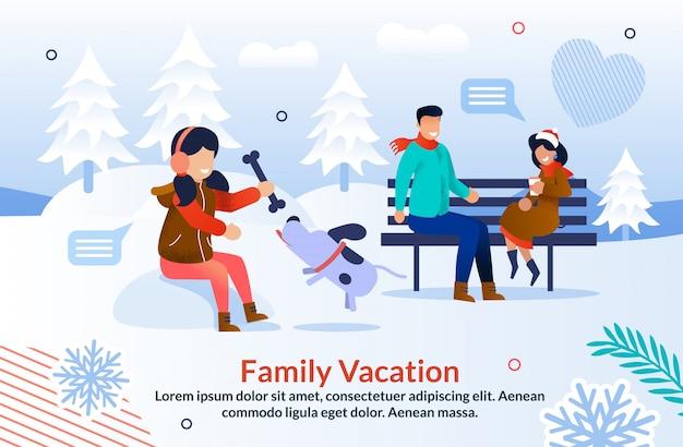 Glückliche winterzeit mit familien-inspirations-plakat