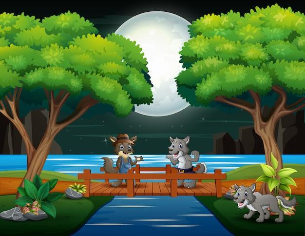 Glückliche wolfkarikaturen, die in der nachtszene spielen