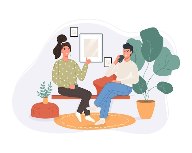Glückliche zwei frauen, die auf der couch sitzen, kaffee trinken und zu hause sprechen. lächelnder charakter, der zeit zusammen verbringt.