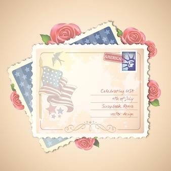 Glücklicher 4. von juli-amerikanischer unabhängigkeitstag retro- einklebebuch-postkarten-entwurf