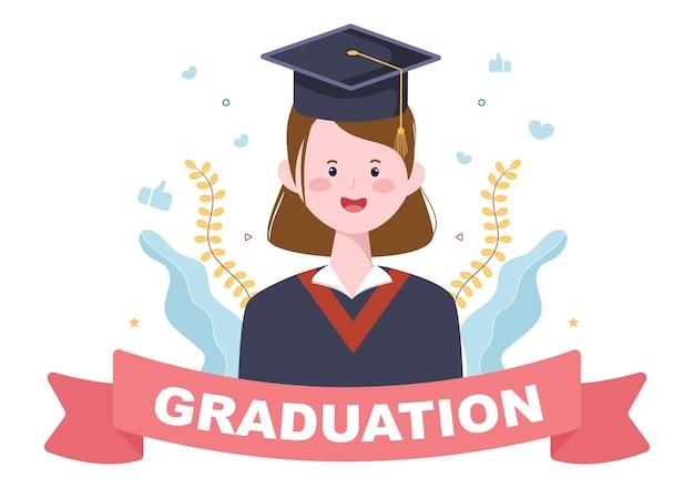Glücklicher abschlusstag der studenten, die hintergrundvektorillustration feiern, die ein akademisches kleid, eine absolventenkappe und ein diplom im flachen stil trägt