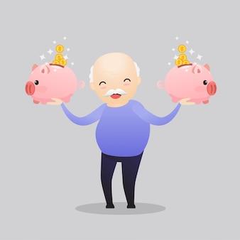 Glücklicher älterer charakter, der geld spart.