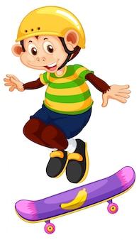 Glücklicher affe, der skateboard spielt