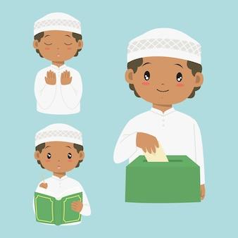 Glücklicher afroamerikanischer muslimischer junge, der koran liest, betet und sadaqah oder nächstenliebe gibt