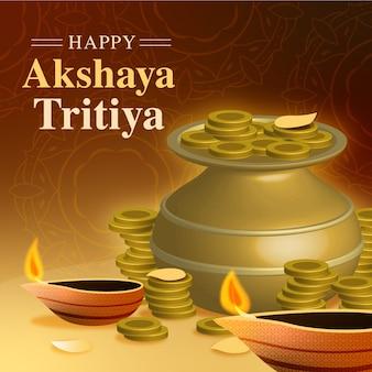 Glücklicher akshaya tritiya topf und kerzen