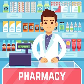 Glücklicher apotheker des jungen mannes verkauft medikationen in der apotheke oder in der drogerie. pharmakologie- und gesundheitswesenvektorkonzept