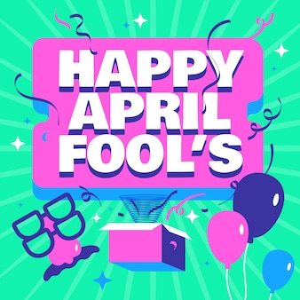 Glücklicher aprilscherz mit luftballons