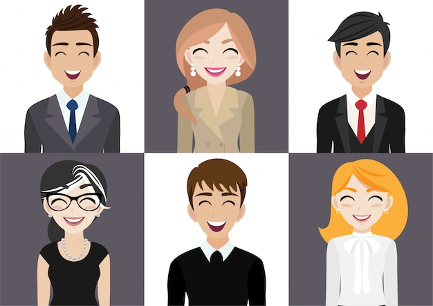 Glücklicher arbeitsplatz mit lächelnder mann- und frauenzeichentrickfilm-figur in der bürokleidung