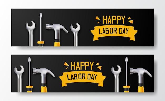 Glücklicher arbeitstag. 3d-schraubendreher, hammer, schraubenschlüssel. banner vorlage