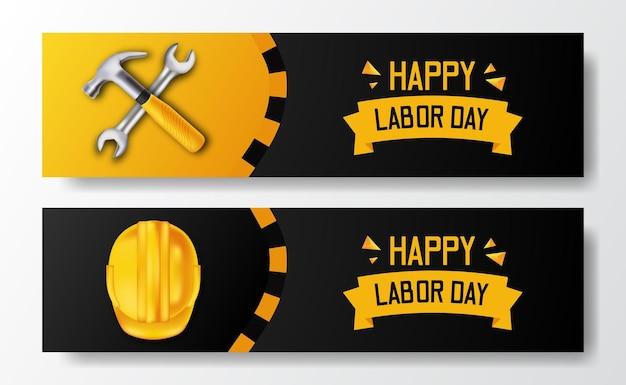 Glücklicher arbeitstag. gelber helm und hammer der sicherheit 3d, schraubenschlüssel. banner vorlage