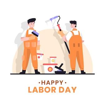 Glücklicher arbeitstag mit arbeitern