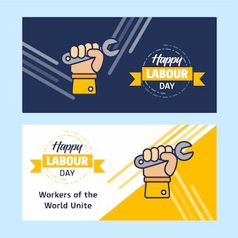 Glücklicher arbeitstagesentwurf mit gelbem und blauem thema