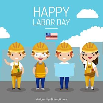 Glücklicher arbeitstageshintergrund mit arbeitskräften