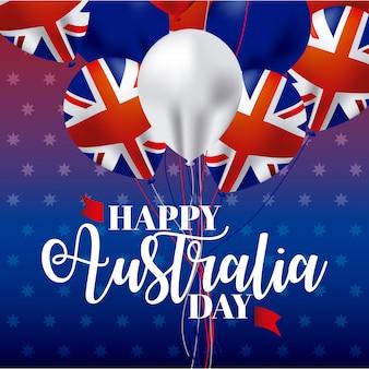 Glücklicher australien-tag mit ballons und flaggen
