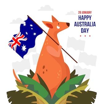 Glücklicher australischer tag mit känguru