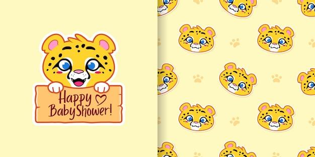 Glücklicher babyparty-gepard und nahtloses muster